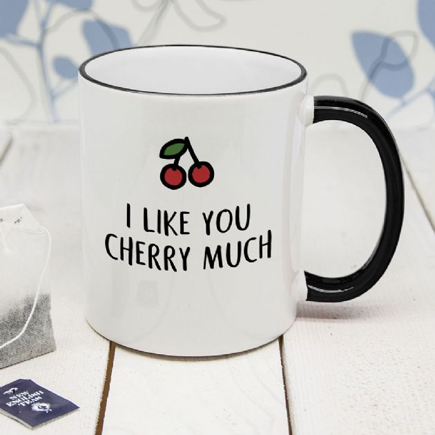 Personalised I Like You Cherry Much Black Rimmed Mug